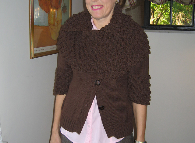 chocolate cardi with bobble collar
