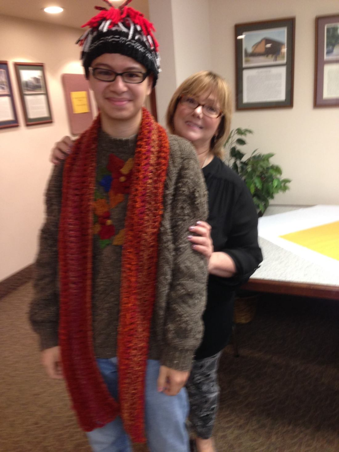 Here is Jarod, a young college student enrolled in the Art Dept. at local university. We were all taken with his interest in knitting.