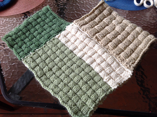 sewn blocks of knitting