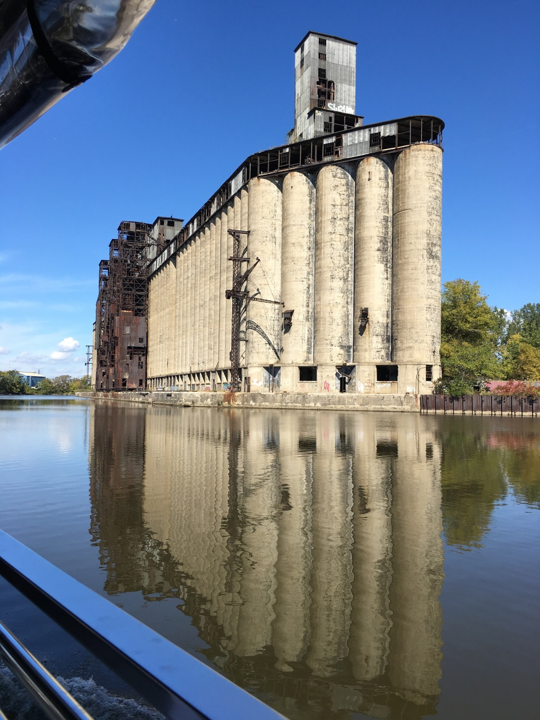 In the Buffalo River and City Ship Canal viewing the amazing silos...